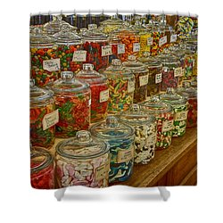 Old Village Mercantile Caledonia Mo Candy Jars Dsc04014 Shower Curtain