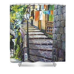 Old Village Stairs - In Tuscany Italy Shower Curtain