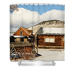 Shower Curtain featuring the photograph Old Wagon And Ghost Town Buildings by Sue Smith