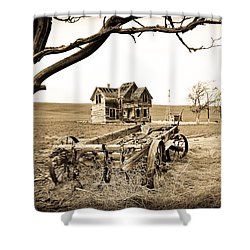 Old Wagon And Homestead Shower Curtain by Athena Mckinzie