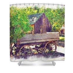 Old Wagon At Wheeler Farm Shower Curtain