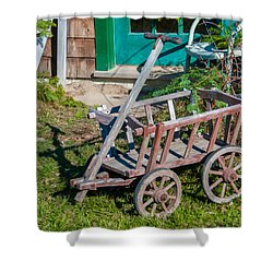 Old Wagon Shower Curtain by Guy Whiteley