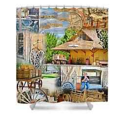 Old West Collage Shower Curtain by Marilyn Diaz