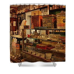 Old Western General Store Counter Shower Curtain by Janice Rae Pariza