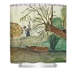 Shower Curtain featuring the painting Old Willow And Boat by Tracey Williams