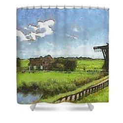Old Windmill Shower Curtain by Ayse Deniz