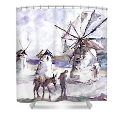 Shower Curtain featuring the painting Old Windmills At Bodrum by Faruk Koksal