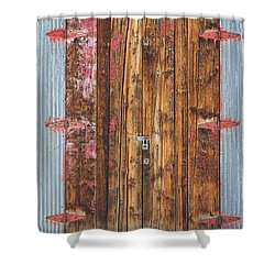 Old Wood Door With Six Red Hinges Shower Curtain by James BO  Insogna
