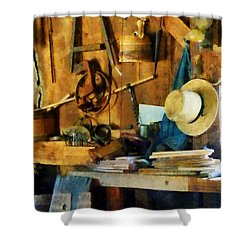 Old Wood Shop Shower Curtain by Susan Savad