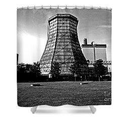 Old Wooden Cooling Tower Shower Curtain by Andy Prendy