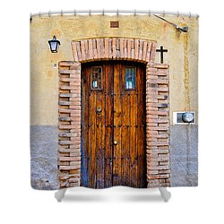 Old Wooden Door - Mexico - Photograph By David Perry Lawrence Shower Curtain