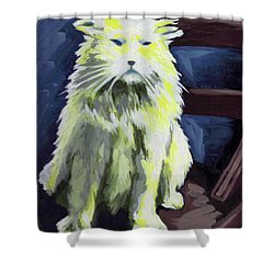 Old World Cat Shower Curtain
