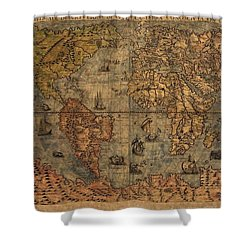 Old World Map Shower Curtain by Dan Sproul