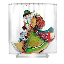 Old World Santa Christmas Art Original Painting By Megan Duncanson Shower Curtain by Megan Duncanson