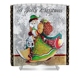 Old World Santa Clause Christmas Art Original Painting By Megan Duncanson Shower Curtain by Megan Duncanson