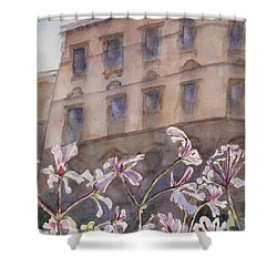 Old World Windowbox Shower Curtain by Mary Benke