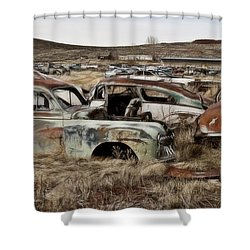 Old Wrecks Shower Curtain