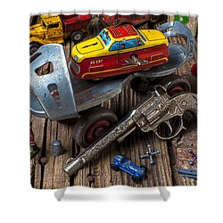 Older Roller Skate And Toys Shower Curtain by Garry Gay
