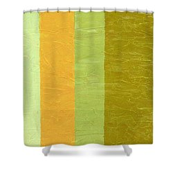 Olive And Peach Shower Curtain by Michelle Calkins