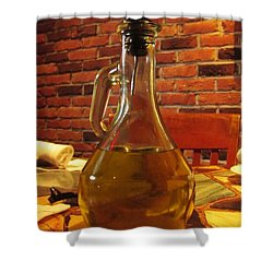 Shower Curtain featuring the photograph Olive Oil On Table by Cynthia Guinn