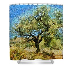 Olive Tree On Van Gogh Manner Shower Curtain