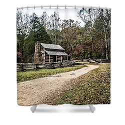 Shower Curtain featuring the photograph Oliver's Log Cabin by Debbie Green