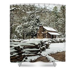 Shower Curtain featuring the photograph Oliver's Log Cabin Nestled In Snow by Debbie Green