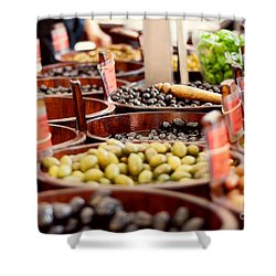 Olives In Barrels Shower Curtain by Ivy Ho