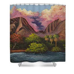 Shower Curtain featuring the painting Olowalu Valley by Darice Machel McGuire