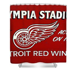 Olympia Stadium - Detroit Red Wings Sign Shower Curtain by Bill Cannon