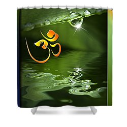 Shower Curtain featuring the mixed media Om On Green With Dew Drop by Peter v Quenter