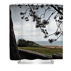 Omaha Beach Under Trees Shower Curtain
