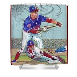 Shower Curtain featuring the mixed media Omar Vizquel Shortstop Magic by Ray Tapajna