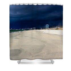 Ominous Sky Over Long Beach Shower Curtain by Heidi Smith