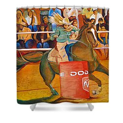 Shower Curtain featuring the painting On A Dime by Joshua Morton