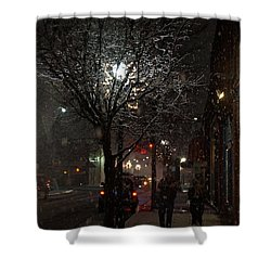 On A Walk In The Snow - Grants Pass Shower Curtain by Mick Anderson
