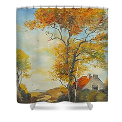 Shower Curtain featuring the painting On Country Road  by Sorin Apostolescu