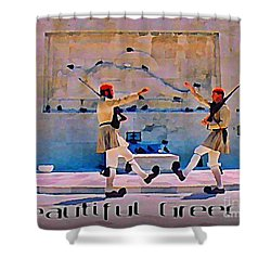 On Guard At The Athens Capitol Shower Curtain by John Malone