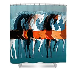 On Parade Shower Curtain by Stephanie Grant