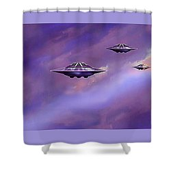 Sky  Patrol Shower Curtain by Hartmut Jager