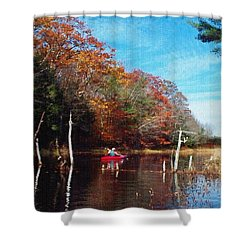 On Schoolhouse Pond Brook Shower Curtain by Joy Nichols