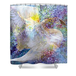 On Swan's Wings Shower Curtain