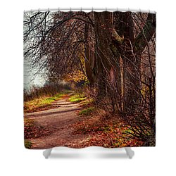 On The Bank Of River Volga Shower Curtain by Jenny Rainbow