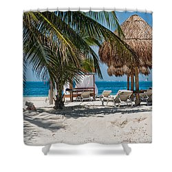 White Sandy Beach In Isla Mujeres Shower Curtain