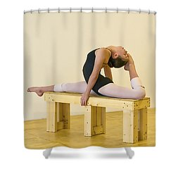 Practicing Ballet On The Bench Shower Curtain