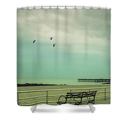 On The Boardwalk Shower Curtain by Margie Hurwich