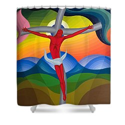 On The Cross Shower Curtain by Emil Parrag