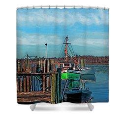 On The Dockside Bristol Rhode Island Shower Curtain