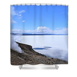 On The Edge Of Lake Yellowstone Shower Curtain by Michele Myers