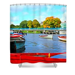 Shower Curtain featuring the photograph On The Garavogue by Charlie and Norma Brock